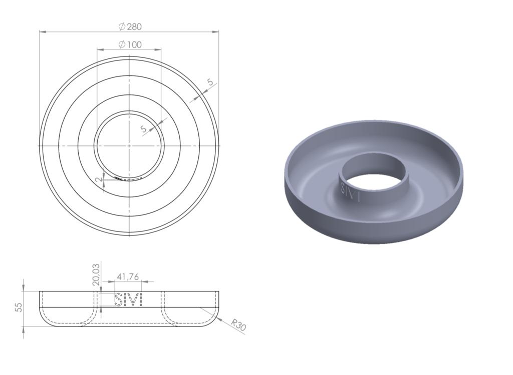 2D teknisk tegning af skål